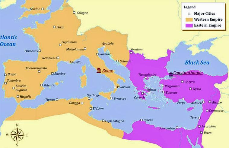 085 Eastern & Western Roman Empires Map